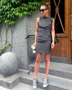 weekend // grey jersey dress + converse