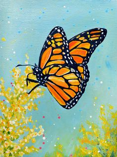 This Monarch Butterfly painting is by acrylic on a cradled wood board. This painting does not require a frame as the edges are painted black. This painting ships safely in a custom made recycled box. Butterfly Acrylic Painting, Butterfly Artwork, Butterfly Drawing, Monarch Butterfly, Painting Flowers, Acrylic Art, Small Canvas Paintings, Animal Paintings, Canvas Art