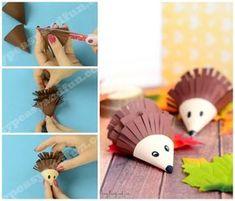 Cute Hedgehog Paper Craft - Easy Peasy and Fun Fall Crafts For Kids, Paper Crafts For Kids, Craft Activities For Kids, Hobbies And Crafts, Preschool Crafts, Easy Crafts, Art For Kids, Lollipop Craft, Cute Hedgehog