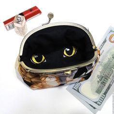 Купить Женская сумка кошелек Кошка глаза Косметичка клатч Подарок девушке - сумочка на цепочке