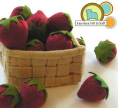 Felt Food Strawberry basket