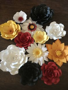 Paper Flowers Black, White, Red and Citrus Colors.