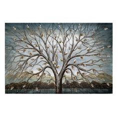 'Tree' Painting on Canvas in Blue East Urban Home Framed Wall Art, Canvas Wall Art, Canvas Prints, Painting Prints, Art Prints, Paintings, Ceramic Flowers, Wrapped Canvas, Graphic Art