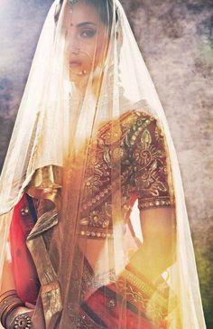 bronze bridal portrait. south asian bride