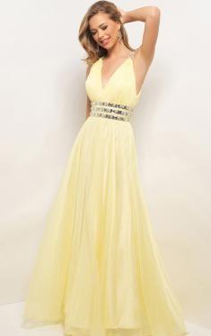 Robe de soiree jaune pale