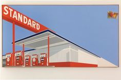 Ed Ruscha   Standard Station with Ten-Cent Western Being Torn in Half (1964).