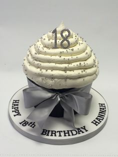 Silver, black and white 18th birthday giant cupcake
