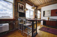 Noble Court Lofts - Unit #413   Toronto LOFTS Toronto Lofts, Centre Island, Hardwood Floors, Flooring, Exposed Brick Walls, Open Concept Kitchen, Wood Ceilings, Corner Desk, Modern Design