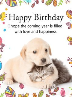 Send Free Cuddling Dog & Cat Happy Birthday Card to Loved Ones on Birthday & Greeting Cards by Davia. Dog Birthday Quotes, Happy Birthday Puppy, Happy Birthday Animals, Free Birthday Card, Happy Birthday Pictures, Happy Birthday Messages, Happy Birthday Greetings, Animal Birthday, Birthday Greeting Cards