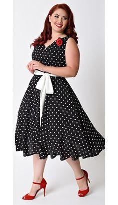 Preorder -  Unique Vintage Plus Size Black & White Dot Sleeveless Venice Swing Dress