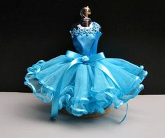 Dolls Clothes Dress up Ballerina Ballet Outfit Fashion Blue Tutu Costumes for Barbie, dolls 12 inch