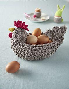 Crocheted hen egg basket – brilliant! Pattern on Ravelry.