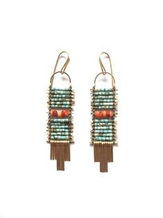 Demimonde turquoise and fire opal earrings
