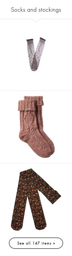 """Socks and stockings"" by jujubeeluvsu ❤ liked on Polyvore featuring intimates, hosiery, socks, accessories, socks and tights, women, gray knee high socks, grey socks, trasparenze and see through socks"