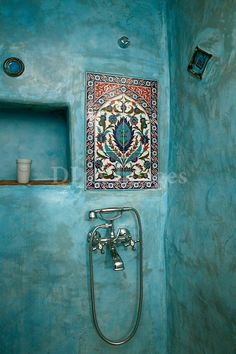 turquoise shower and tile work - gorgeous!