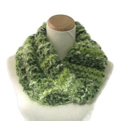 Chunky Cowl, Green Cowl, Knit Scarf, Hand Knit Scarf, Circle Scarf, Winter Scarf, Gift Ideas, Women, Outlander Inspired Cowl - pinned by pin4etsy.com