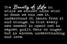The Beauty of life is, while we cannot undo what is done, we can see it, understand it,  Learn from it and CHANGE, So that every new moment is spent not in regret, GUILT,  Fear, or ANGER but in wisdom, UNDERSTANDING, and love