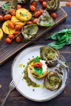 Grill Like an Italian with Colavita: Grilled Artichokes and Polenta with Pesto and Blistered Tomatoes