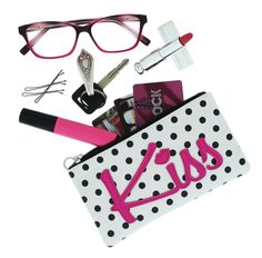 The last Kiss of Summer and getting ready to organize your life for Back to School: Evolution Eyes Whims Textured Vinyl Padded Multipurpose Zipper Case Pouch, Kiss.  #BacktoSchool