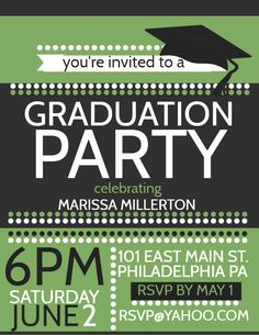 Graduation party invitation flyer poster - green