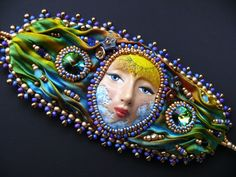 CUSTOM ORDER RESERVED for Cyndy Bead embroidered cuff by Maewa