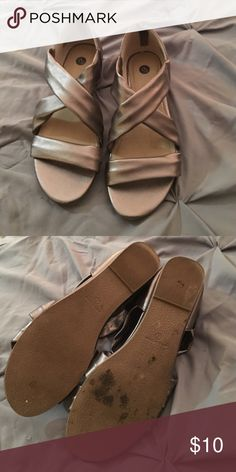 Unique metallic sandals! Get ready for spring! These beautiful sandals will be great addition to any outfit as they will easily match anything. These are used - no box - size 7 Dress Barn Shoes Sandals