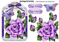 Pretty painted purple roses and butterflies in lace frame on Craftsuprint designed by Nick Bowley - Pretty painted purple roses and butterflies in lace frame, can also be seen in 8x8 mini kits in other colours - Now available for download!