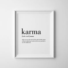 Karma Definition Print Karma Printable Bathroom Wall Decor