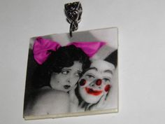 so great and creepy... I hate clowns...Clara Bow the original It Girl  Wearable Art by aBeesCreations, $8.00