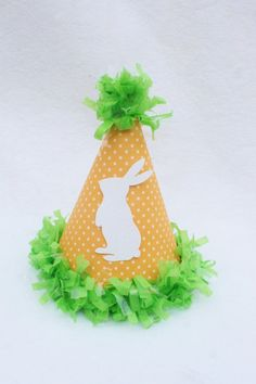 Easter Bunny Party Hat in Carrot Orange and Grass Green