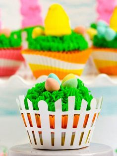 Easter Mini Egg and Peep Cupcakes (Devil's Food Cupcakes and Vanilla Buttercream