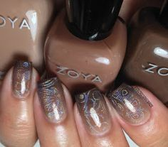 Zoya Natural Deux Collection Fall 2014 - gradient nail art with holographic nail polish stamping on top