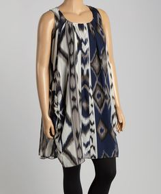 Look what I found on #zulily! Navy Abstract Ikat Sleeveless Tunic - Plus #zulilyfinds