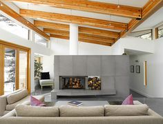 Solus Concrete wall tiles for double-sided fireplace - I think I'm in love