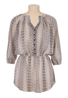 printed chiffon tunic with elastic waist (original price, $34) available at #Maurices