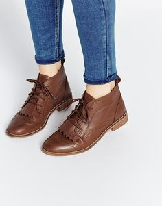 ASOS ABERY Brogue Lace Up Leather Ankle Boots. These would be cute, if I replace the laces with ribbon and add some glitter :)