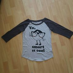 Forever 21 baseball tee smart is cool Only worn twice  Forever 21 baseball tee Forever 21 Tops Tees - Short Sleeve