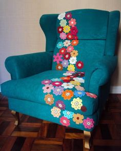 #crochet #flower #yarnbombing  this is an interesting idea that opens up unlimited possibilities.  What about sewing cloth onto chairs that has interesting designs or quotes?