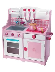 Imaginarium kitchen for Pippa! Childrens Play Kitchen, Wooden Play Kitchen, Toy Kitchen, Little Kitchen, Play Kitchens, Home Kitchens, Loft Beds For Small Rooms, Doll House Curtains, Grand Chef