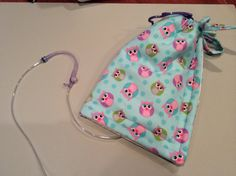 Insulated Feeding Bag Cover for g tube feedings...cute and keeps food cool all night