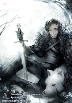 Jon Snow and Ghost from Game of Thrones. Commission for Facebook Page Instagram Commission info