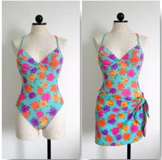 VICTORIA'S SECRET Set of 2 Bright Floral Print One Piece Swimsuit & Cover Up- 6B