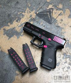 Glock 19 Cerakote Color Fill with Black and Pink Accents Ninja Weapons, Weapons Guns, Guns And Ammo, Armas Wallpaper, Gun Aesthetic, Pink Guns, Glock Guns, Pretty Knives, Armas Ninja