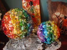 Beaded rainbow balls | by Poppins Mosaics and Crafts