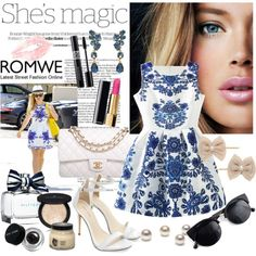 Romwe Blue Dress by diva1 on Polyvore featuring moda, Chanel, Oscar de la Renta, Miss Selfridge, Vincent Longo, Bobbi Brown Cosmetics, Diptyque, Nicole and romwe