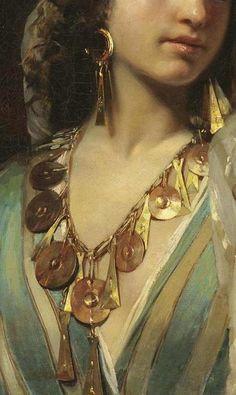 Odalisque (also known as Femme orientale) Claude Ferdinand Gaillard - 1859 #Art #Detail