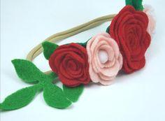 Nuevo Collar de cinta de fieltro hecho a mano cinturón Bufanda y pelo banda Flores Día De San Valentín