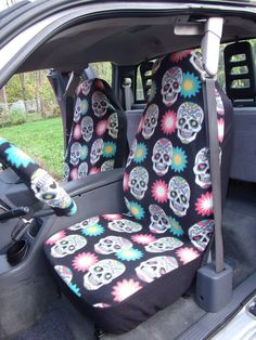 1 Set Of Festival Skulls Print Seat Covers And By ChaiLinSews Fit Car