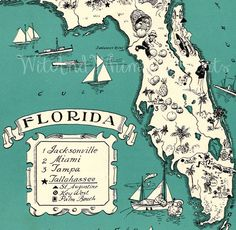 Vintage Map FLORIDA Archival Print, Whimsical, Adorable, Perfect for Framing, Fun, Funky, Sandy Beaches, Miami, Tampa. $10.00, via Etsy.