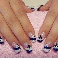 Best nail designs and tutorials for pretty, fashion nails. French Nails, Blue Nails, White Nails, White Manicure, Glitter French Manicure, Dallas Cowboys Nails, Dallas Cowboys Nail Designs, Cowboy Nails, Black And White Nail Art